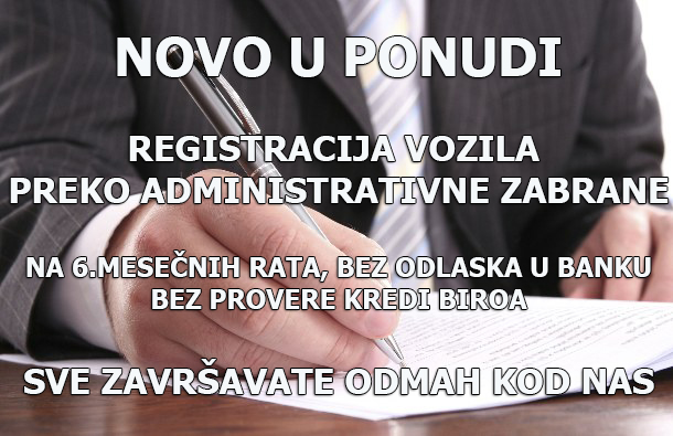 Registracija vozila preko administrativne zabrane